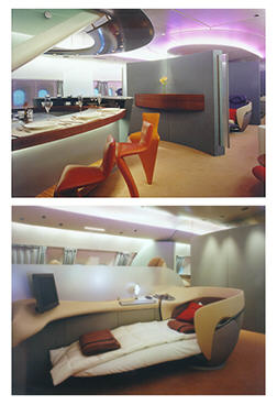 A380 bar and sleeping lounge concepts